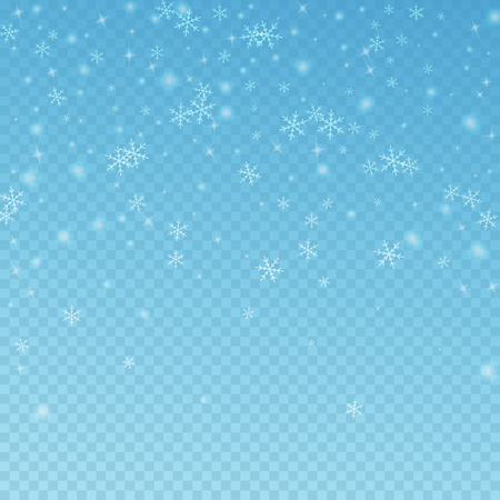 Sparse glowing snow Christmas background. Subtle flying snow flakes and stars on transparent blue background. Alive winter silver snowflake overlay template. Symmetrical vector illustration. Stock Photo