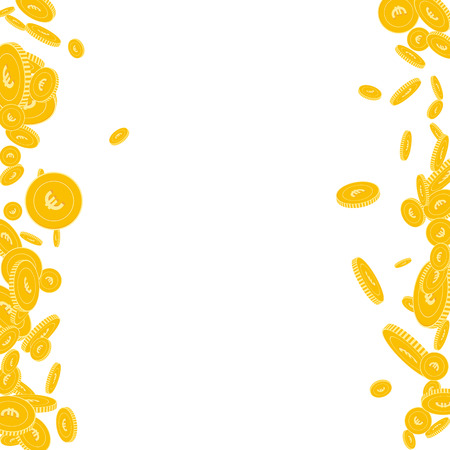 European Union Euro coins falling. Scattered floating EUR coins on white background. Authentic messy border vector illustration. Jackpot or success concept. 일러스트