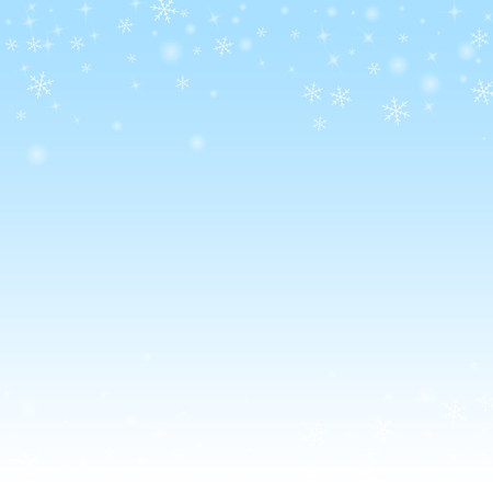 Sparse glowing snow Christmas background. Subtle flying snow flakes and stars on winter sky background. Awesome winter silver snowflake overlay template. Brilliant vector illustration.