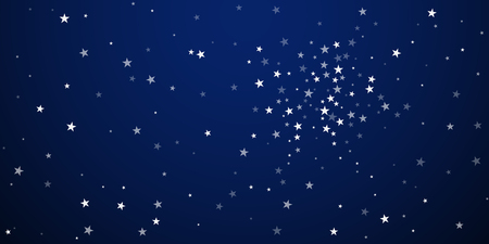 Random falling stars Christmas background. Subtle flying snow flakes and stars on dark blue night background. Astonishing winter silver snowflake overlay template. Eminent vector illustration.