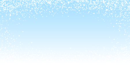 Amazing falling snow Christmas background. Subtle flying snow flakes and stars on night sky background. Alive winter silver snowflake overlay template. Modern vector illustration.