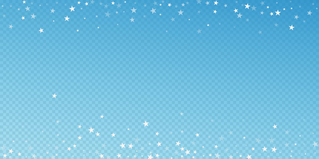 Random falling stars Christmas background. Subtle flying snow flakes and stars on blue transparent background. Amusing winter silver snowflake overlay template. Stylish vector illustration. 스톡 콘텐츠