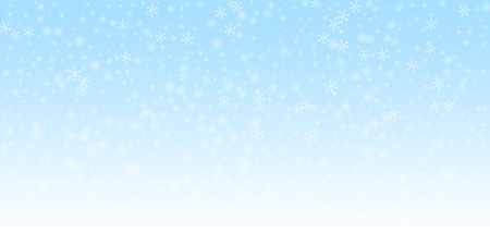 Sparse glowing snow Christmas background. Subtle flying snow flakes and stars on night sky background. Alive winter silver snowflake overlay template. Bewitching vector illustration.