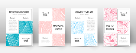 Cover page design template. Business brochure layout. Bewitching trendy abstract cover page. Pink and blue grunge texture background. Overwhelming poster.