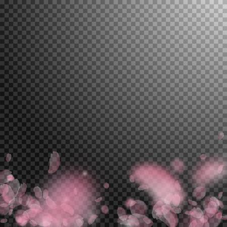 Sakura petals falling down. Romantic pink flowers gradient. Flying petals on transparent square background. Love, romance concept. Divine wedding invitation.