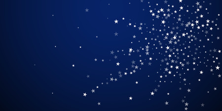 Random falling stars Christmas background. Subtle flying snow flakes and stars on dark blue night background. Artistic winter silver snowflake overlay template. Glamorous vector illustration. Stock Photo