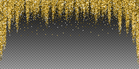 Round gold glitter luxury sparkling confetti. Scattered small gold particles on transparent background. Beauteous festive overlay template. Unusual vector illustration.