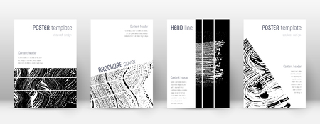 Cover page design template. Geometric brochure layout. Bizarre trendy abstract cover page. Black and white grunge texture background. Favorable poster.
