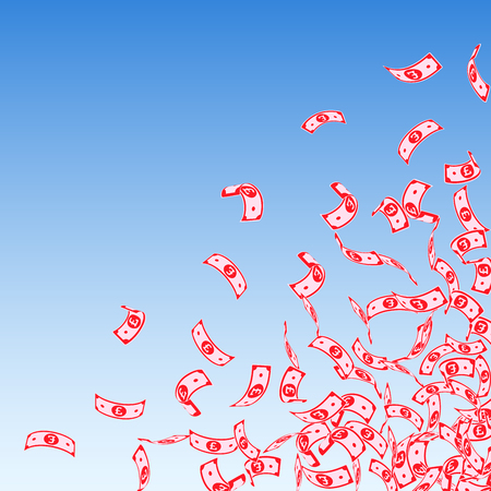 British pound notes falling. Small GBP bills on blue sky background. United Kingdom money. Awesome vector illustration. Eminent jackpot, wealth or success concept.