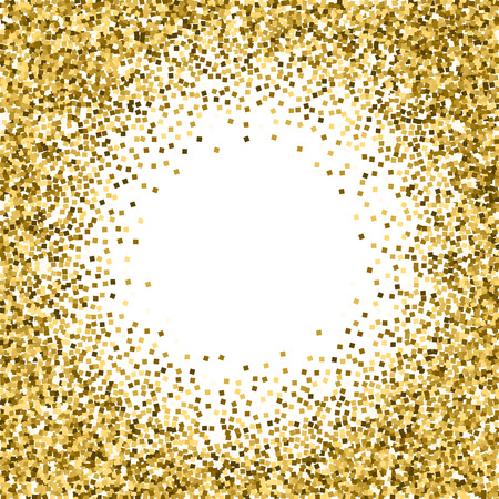 Gold glitter luxury sparkling confetti. Scattered small gold particles on white background. Appealing festive overlay template. Shapely vector illustration.