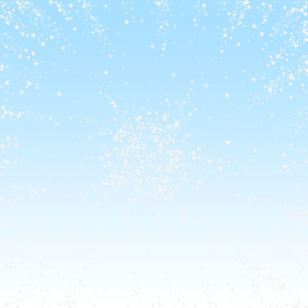 Amazing falling stars Christmas background. Subtle flying snow flakes and stars on winter sky background. Authentic winter silver snowflake overlay template. Extraordinary vector illustration.