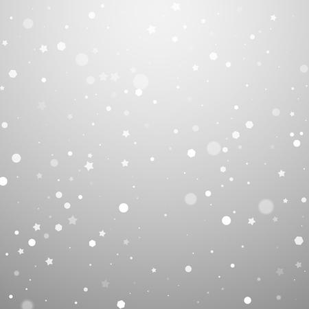 Magic stars random Christmas background. Subtle flying snow flakes and stars on light grey background. Alive winter silver snowflake overlay template. Actual vector illustration. Stock Photo