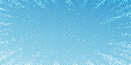 Magic stars sparse Christmas background. Subtle flying snow flakes and stars on transparent blue background. Alive winter silver snowflake overlay template. Good-looking vector illustration.