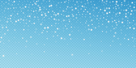 Random falling stars Christmas background. Subtle flying snow flakes and stars on blue transparent background. Attractive winter silver snowflake overlay template. Classic vector illustration.