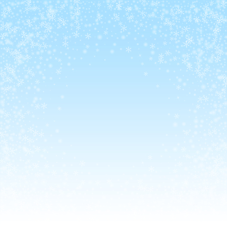 Beautiful glowing snow Christmas background. Subtle flying snow flakes and stars on winter sky background. Beauteous winter silver snowflake overlay template. Breathtaking vector illustration.