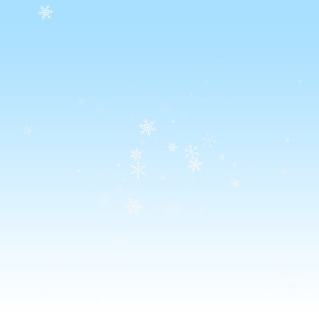 Sparse snowfall Christmas background. Subtle flying snow flakes and stars on winter sky background. Authentic winter silver snowflake overlay template. Pretty vector illustration.