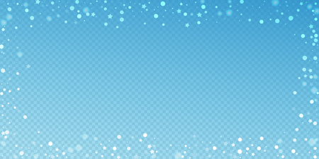 Magic stars random Christmas background. Subtle flying snow flakes and stars on blue transparent background. Awesome winter silver snowflake overlay template. Neat vector illustration. Stock Photo