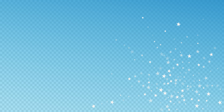 Random falling stars Christmas background. Subtle flying snow flakes and stars on blue transparent background. Artistic winter silver snowflake overlay template. Stylish vector illustration. Stock Photo
