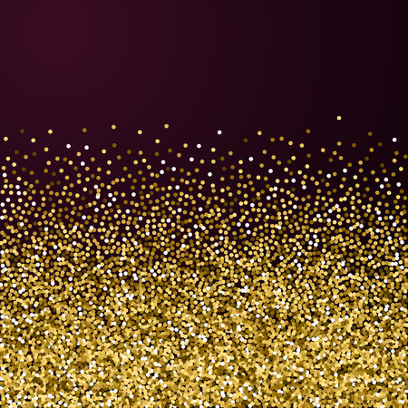 Round gold glitter luxury sparkling confetti. Scattered small gold particles on red maroon background. Amazing festive overlay template. Positive vector illustration.