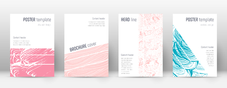 Cover page design template. Geometric brochure layout. Breathtaking trendy abstract cover page. Pink and blue grunge texture background. Actual poster.
