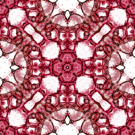 Red seamless pattern. Astonishing delicate soap bubbles. Lace hand drawn textile ornament. Kaleidoscope mandala lingerie print. Bizarre abstract watercolor background.
