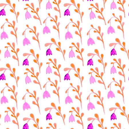 Cute watercolor floral seamless pattern. Pink boho flowers. Vintage hippie style. Cute floral watercolour pattern. Unusual trendy handpainted flowers.