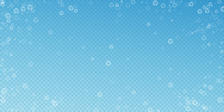 Soap bubbles abstract background. Blowing bubbles on transparent blue background. Astonishing soapy foam overlay template. Indelible vector illustration.