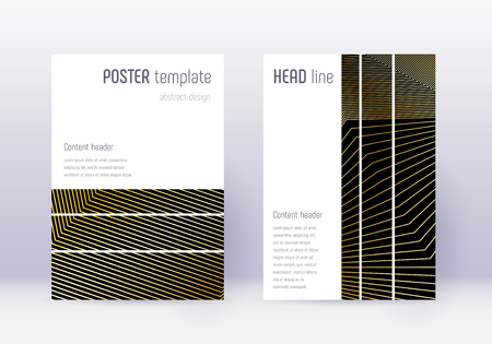 Geometric cover design template set. Gold abstract lines on black background. Beauteous cover design. Unique catalog, poster, book template etc.