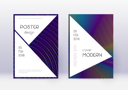 Stylish cover design template set. Rainbow abstract lines on dark blue background. Fantastic cover design. Fascinating catalog, poster, book template etc. 일러스트