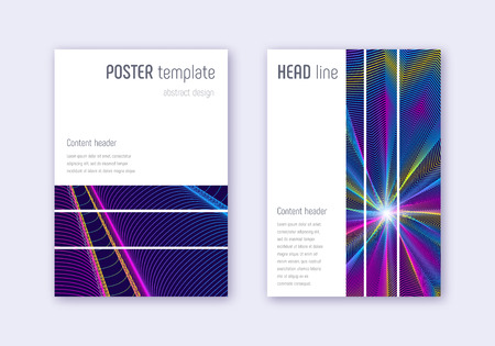 Geometric cover design template set. Rainbow abstract lines on dark blue background. Bizarre cover design. Beautiful catalog, poster, book template etc.