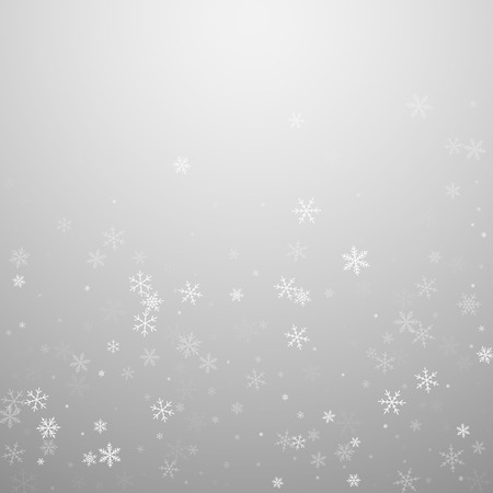 Sparse snowfall Christmas background. Subtle flying snow flakes and stars on light grey background. Adorable winter silver snowflake overlay template. Brilliant vector illustration.