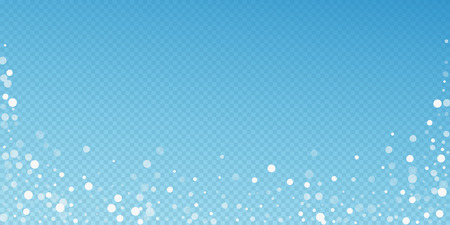 White dots Christmas background. Subtle flying snow flakes and stars on blue transparent background. Authentic winter silver snowflake overlay template. Dazzling vector illustration. Stock Photo
