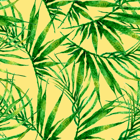 Tropical seamless pattern. Watercolor chaotic palm leaves, japanese bamboo. Green exotic swimwear design. Summer tropic repeated print. Precious textile illustration.