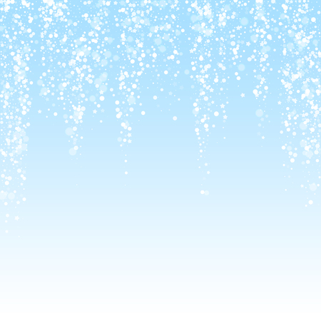 Magic stars sparse Christmas background. Subtle flying snow flakes and stars on winter sky background. Beauteous winter silver snowflake overlay template. Mesmeric vector illustration.