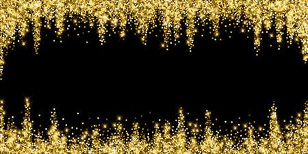 Coriandoli scintillanti di lusso scintillanti d'oro. Piccole particelle d'oro sparse su sfondo nero. Modello di sovrapposizione festivo vivo. Illustrazione vettoriale ottimale.