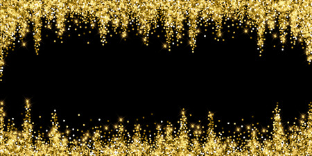 Sparkling gold luxury sparkling confetti. Scattered small gold particles on black background. Alive festive overlay template. Optimal vector illustration.