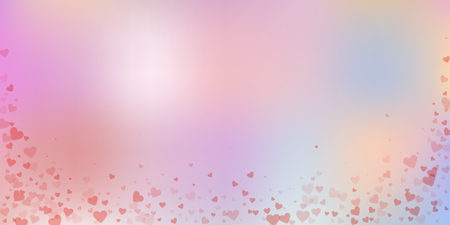 Red heart love confettis. Valentine's day falling rain unique background. Falling transparent hearts confetti on delicate background. Elegant vector illustration.
