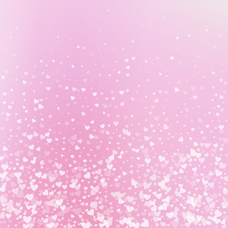 White heart love confettis. Valentines day gradient charming background. Falling transparent hearts confetti on gradient background. Extra vector illustration.