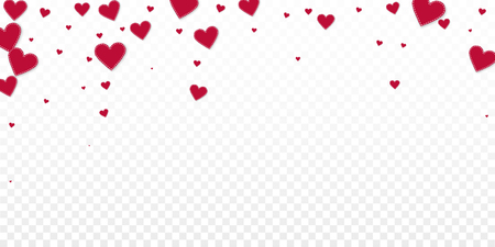 Red heart love confettis. Valentine's day falling rain worthy background. Falling stitched paper hearts confetti on transparent background. Enchanting vector illustration. Illustration