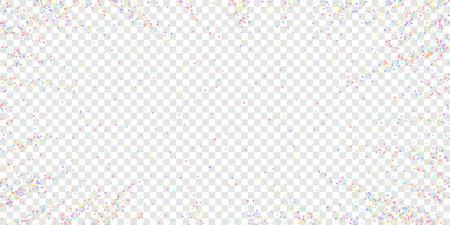 Festive confetti. Celebration stars. Colorful stars small on transparent background. Ecstatic festive overlay template. Nice vector illustration.