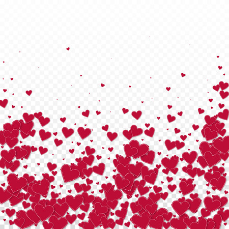 Red heart love confettis. Valentines day falling rain likable background. Falling stitched paper hearts confetti on transparent background. Creative vector illustration. Illustration