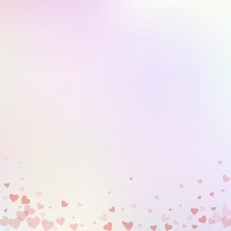 Red heart love confettis. Valentine's day gradient immaculate background. Falling transparent hearts confetti on delicate background. Exquisite vector illustration.
