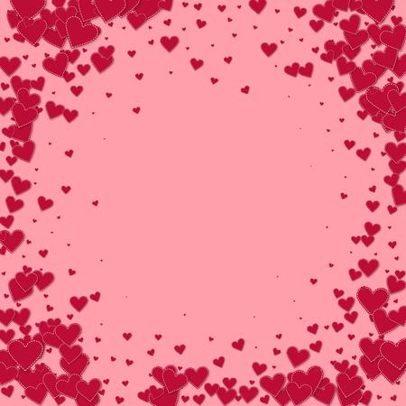 Red heart love confettis. Valentine's day vignette tempting background. Falling stitched paper hearts confetti on pink background. Dazzling vector illustration.