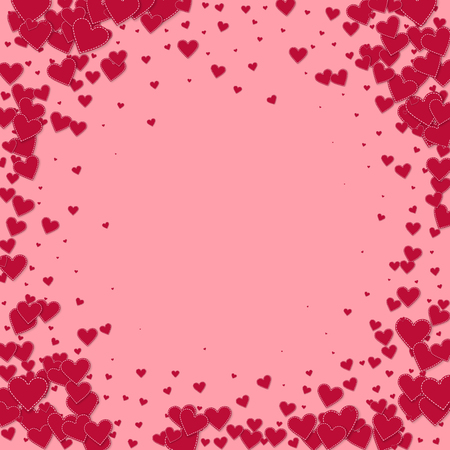 Red heart love confettis. Valentine's day vignette tempting background. Falling stitched paper hearts confetti on pink background. Dazzling vector illustration.