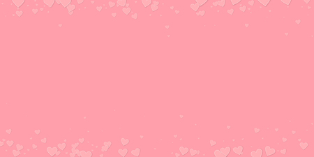 Pink heart love confettis. Valentine's day border grand background. Falling stitched paper hearts confetti on pink background. Decent vector illustration. Illustration