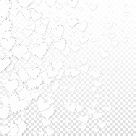 White heart love confettis. Valentine's day gradient stylish background. Falling stitched paper hearts confetti on transparent background. Excellent vector illustration.