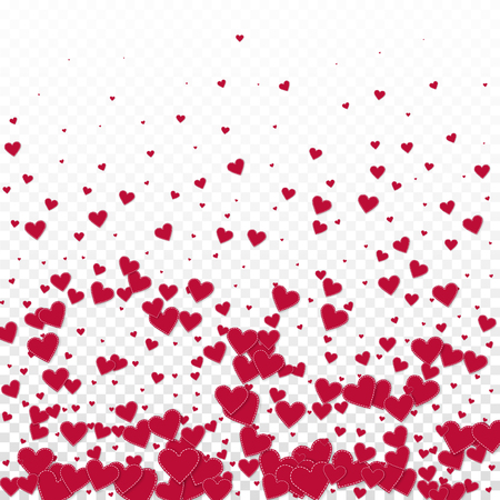 Red heart love confettis. Valentine's day gradient worthy background. Falling stitched paper hearts confetti on transparent background. Exquisite vector illustration.