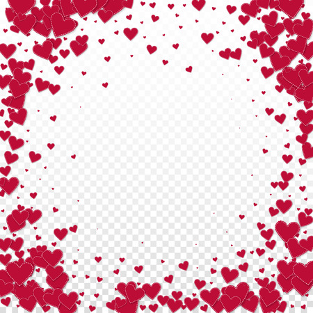 Red heart love confettis. Valentine's day vignette terrific background. Falling stitched paper hearts confetti on transparent background. Dazzling vector illustration.
