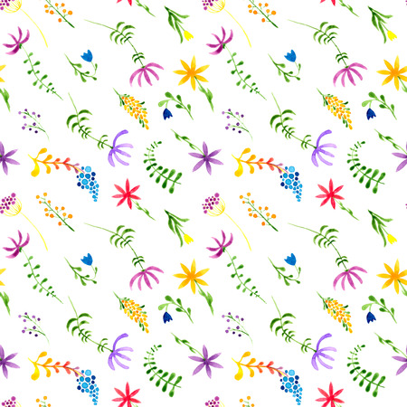 Cute watercolor floral seamless pattern. Colorful boho flowers. Vintage hippie style. Cute floral watercolour pattern. Glamorous trendy handpainted flowers. Stock Photo
