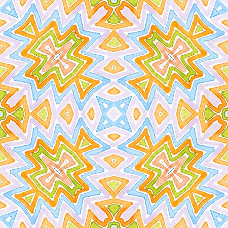 Colorful Geometric Watercolor. Dazzling Seamless Pattern. Hand Drawn Stripes. Brush Texture. Delightful Chevron Ornament. Fabric Cloth Swimwear Design Wallpaper Wrapping.